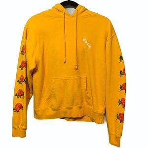 Obey Yellow Hoodie With Rose Sleeves Size Large